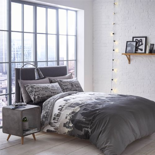 Catherine Lansfield Cityscape Grey Bedding Set